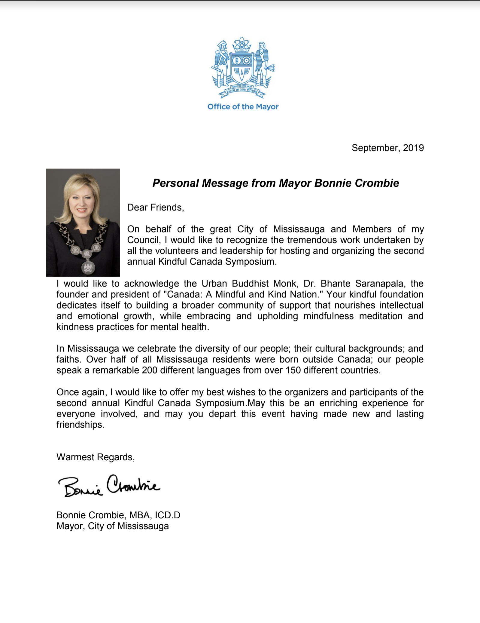 Special Greeting Message from the Mayor Bonnie Crombie